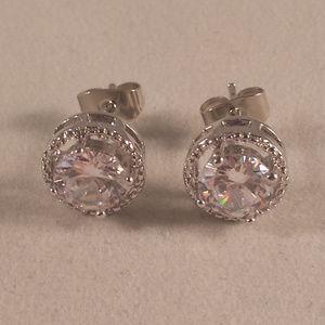 White Topaz Zircon Halo Stud Earrings 1.28tcw